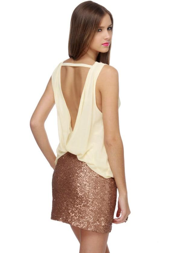 Banquet Invitation Ivory and Bronze Dress