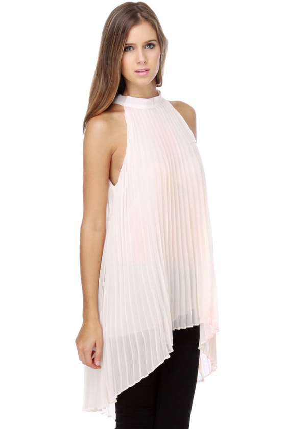 By Your Side Pleated Cream Top