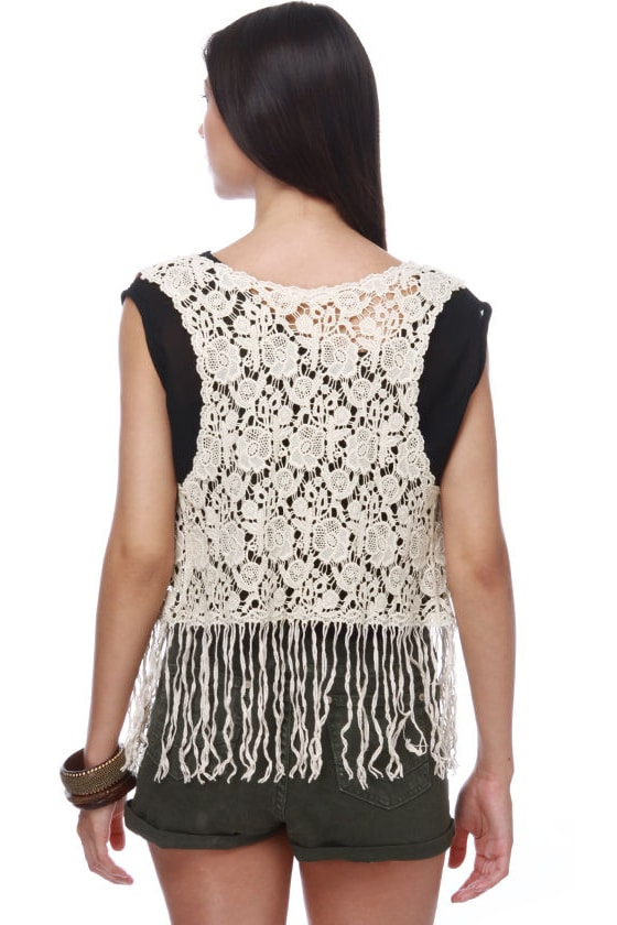 Back at the Ranch Cream Lace Vest