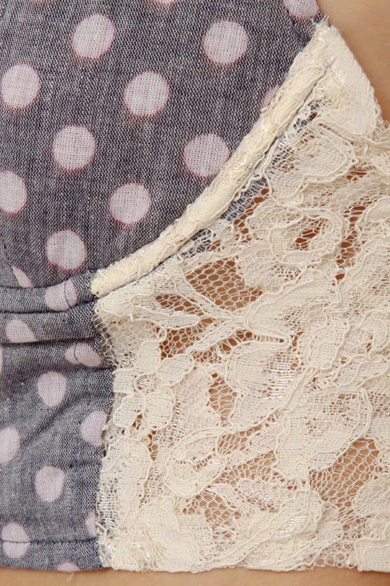 Dot in the Act Grey Polka Dot Bustier Top