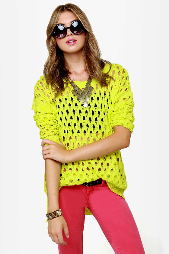 Inspection Points Neon Yellow Sweater at Lulus.com!