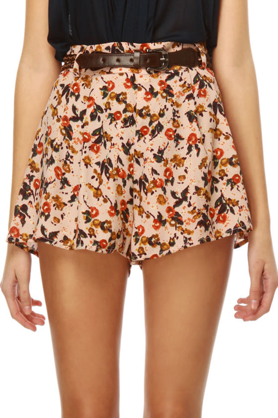 Route 66 Floral Pink Shorts