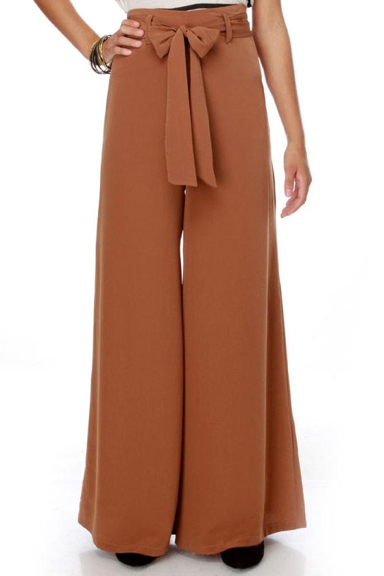 Retro Brown Pants - Wide Leg Pants - High Waist Pants - $40.00