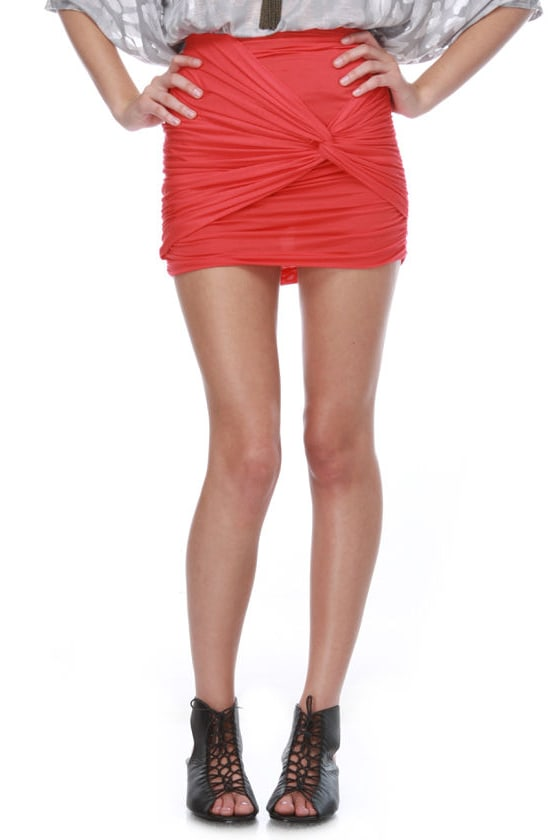 Twist of Line Coral Red Skirt