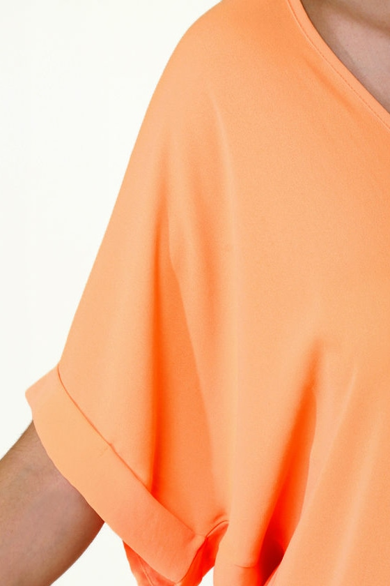 Best of the Zest Sheer Orange Top at Lulus.com!
