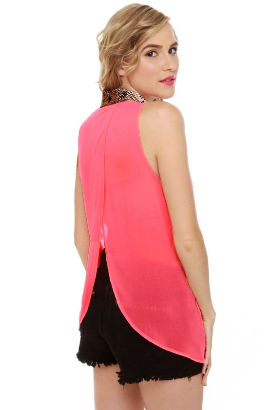 Snake Your Body Line Neon Pink Top