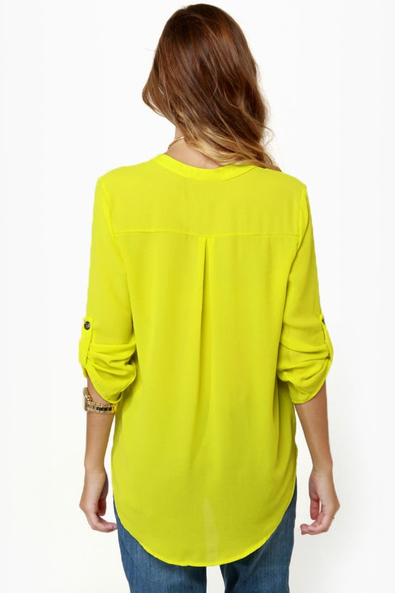 Cute Chartreuse Top Yellow Top
