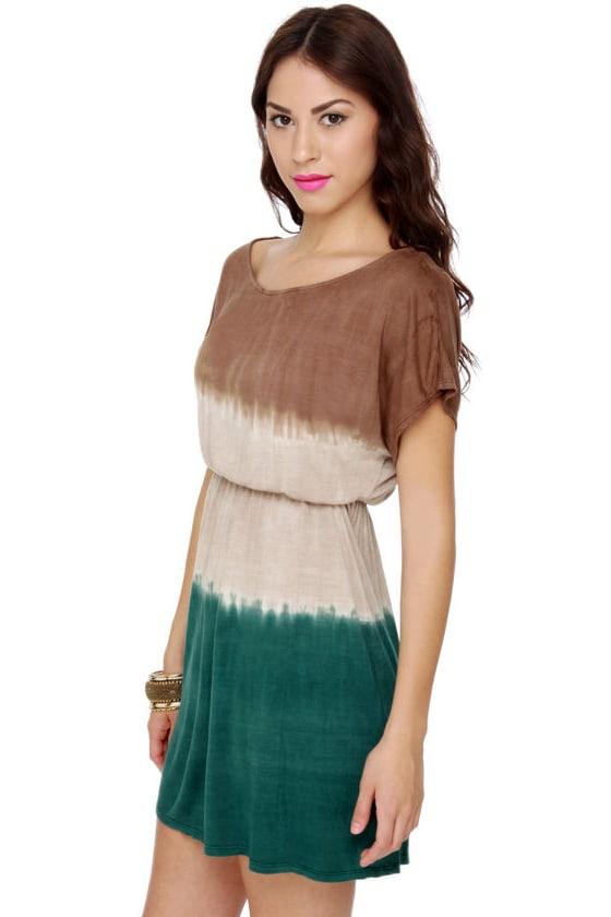 cute tie dye dress dip dye dress brown dress color block dress. Black Bedroom Furniture Sets. Home Design Ideas