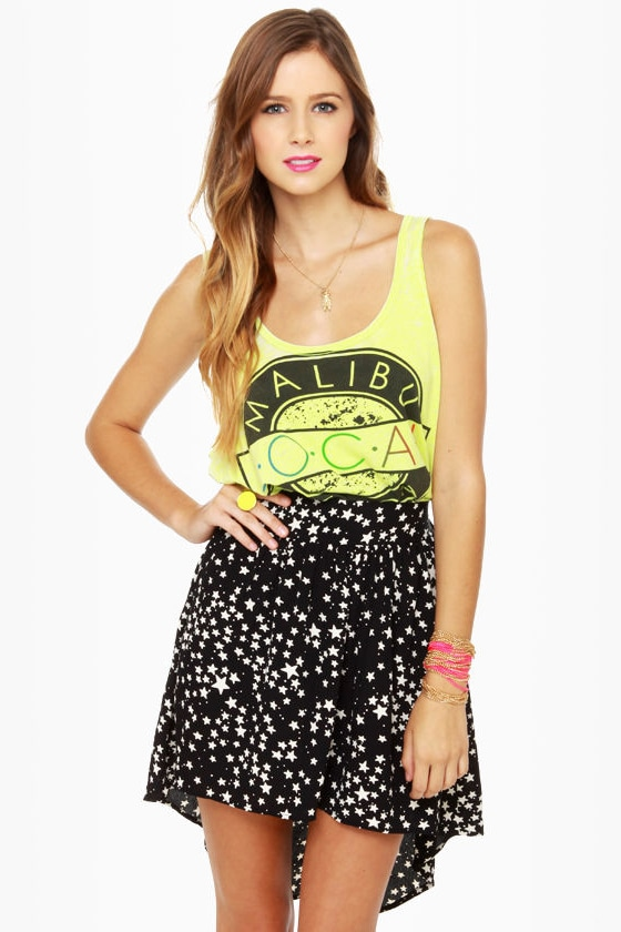Lucy Love Ibiza Black Star Print Skirt