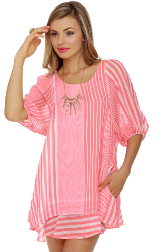Lucy Love Gabriella Striped Coral Pink Dress