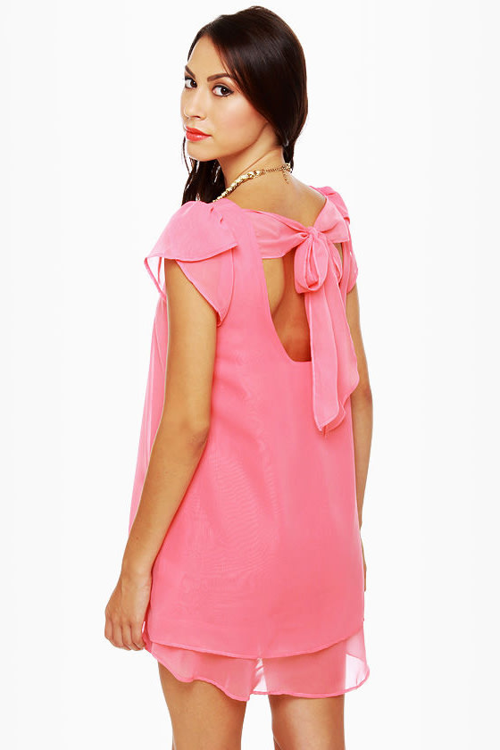 Lucy Love Dominique Coral Pink Shift Dress
