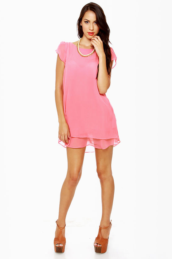 Lucy Love Dominique Coral Pink Shift Dress at Lulus.com!