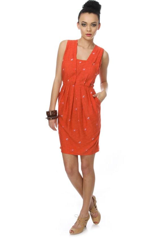 Many Belles Down Smurf Orange Dress