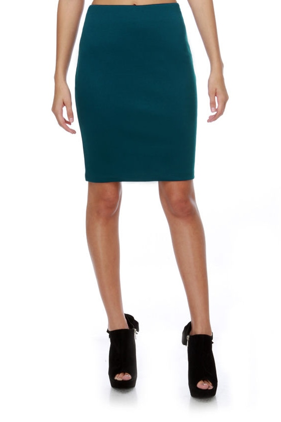 Many Belles Down Essential Teal Pencil Skirt