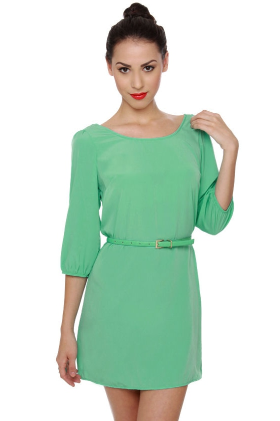 Babytalk Belted Mint Green Dress at Lulus.com!