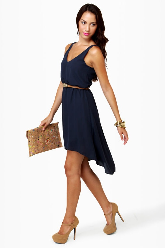 Rockin' Robin Belted Navy Blue Dress