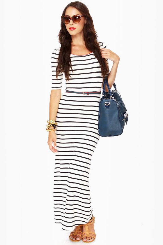 0bf77eed7 Cute Striped Dress - Maxi Dress - Short Sleeve Dress - $41.00