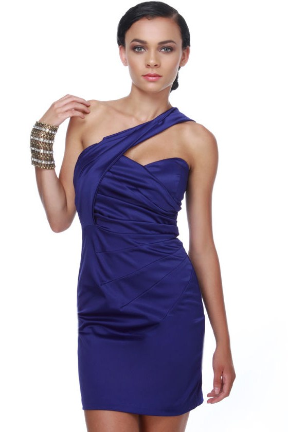 Polished and Pleated One Shoulder Blue Dress