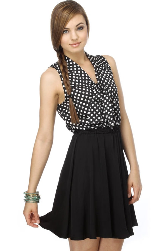 Savvy Journalist Polka Dot Black Dress