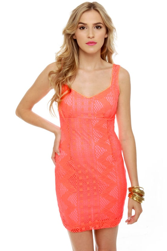 Ciao Baby Neon Coral Lace Dress at Lulus.com!