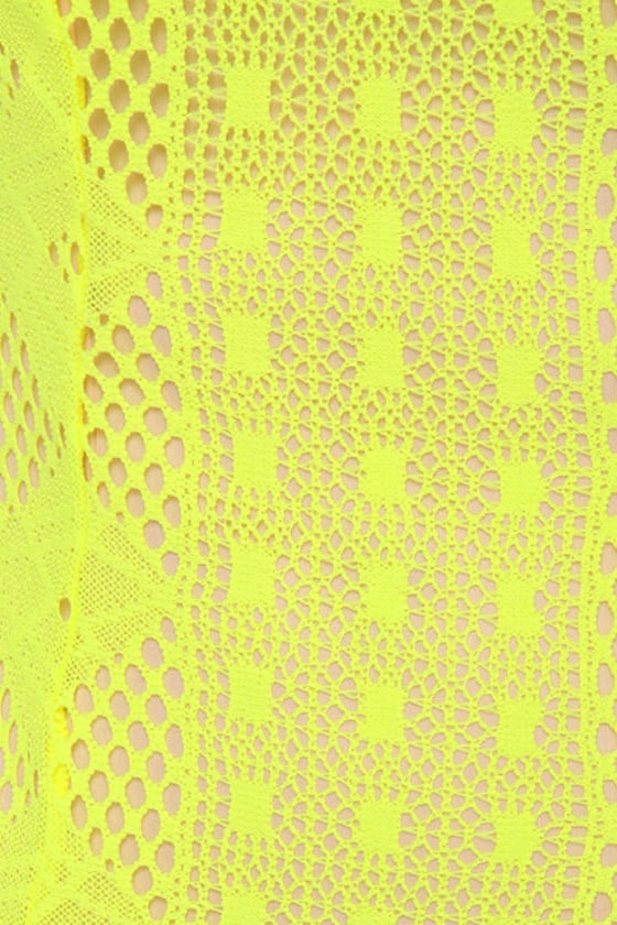 Groovy Girlie Neon Yellow Halter Dress
