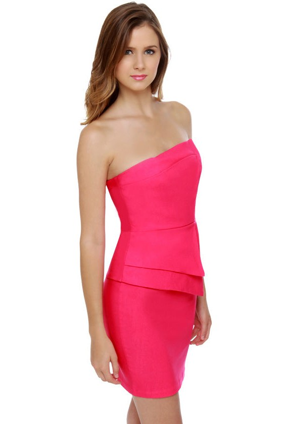 Polite to Point Strapless Fuchsia Pink Dress at Lulus.com!