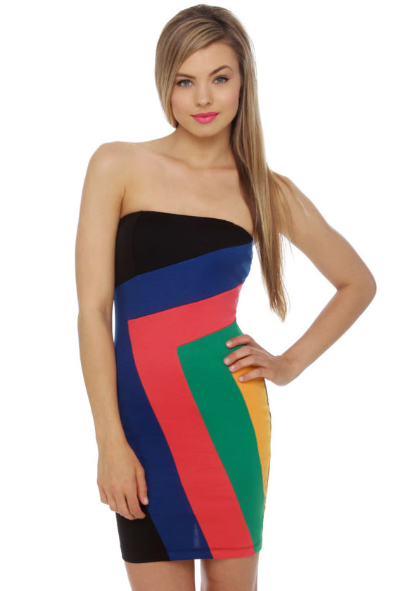 Broadcast Live Strapless Color Block Dress