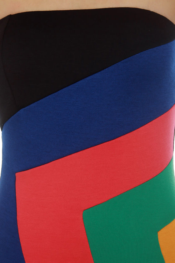 Broadcast Live Strapless Color Block Dress