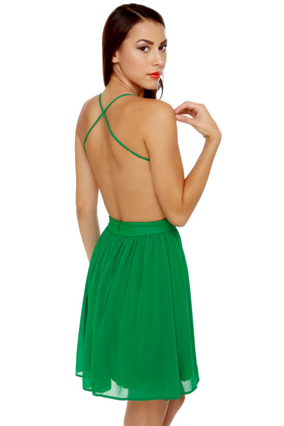 Evening News Backless Green Dress
