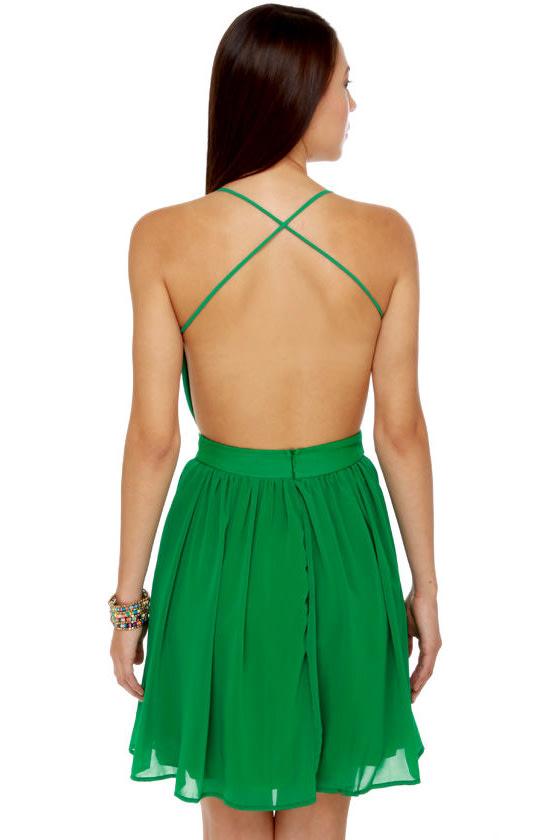 Evening News Backless Green Dress
