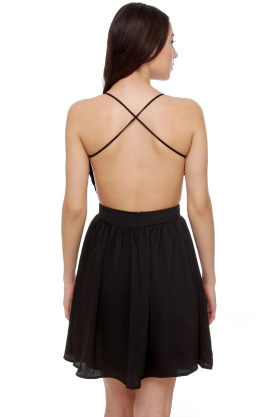 Evening News Backless Black Dress