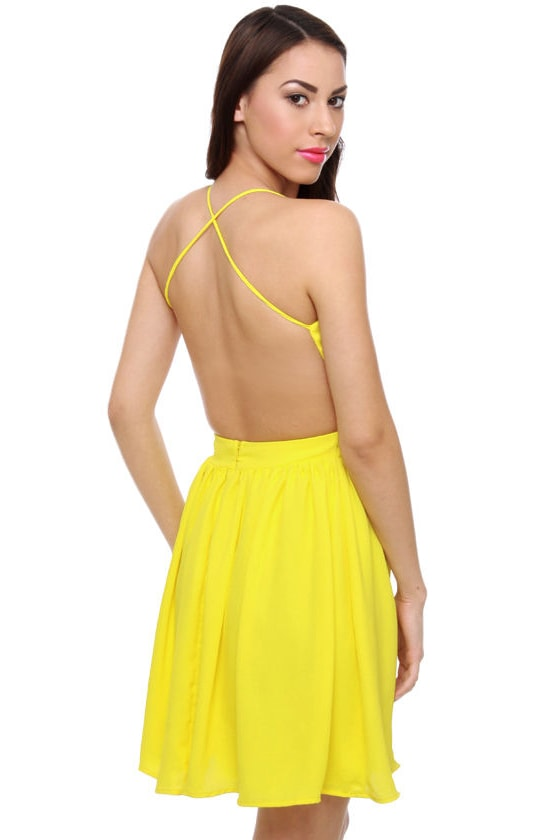Evening News Backless Neon Yellow Dress
