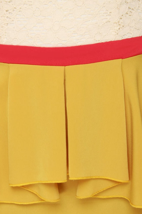 Scene It Yellow Color Block Dress at Lulus.com!