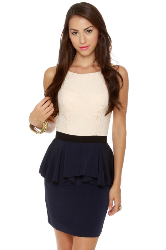 Scene It Navy Blue Color Block Dress