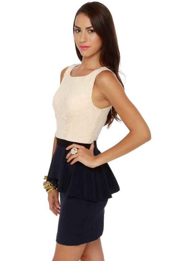 Scene It Navy Blue Color Block Dress at Lulus.com!
