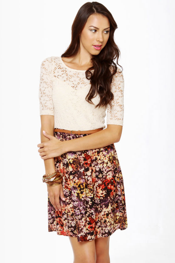 Fleur du Jour Lace and Floral Print Dress at Lulus.com!