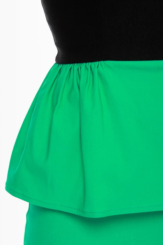 Lovecats Strapless Black and Green Dress