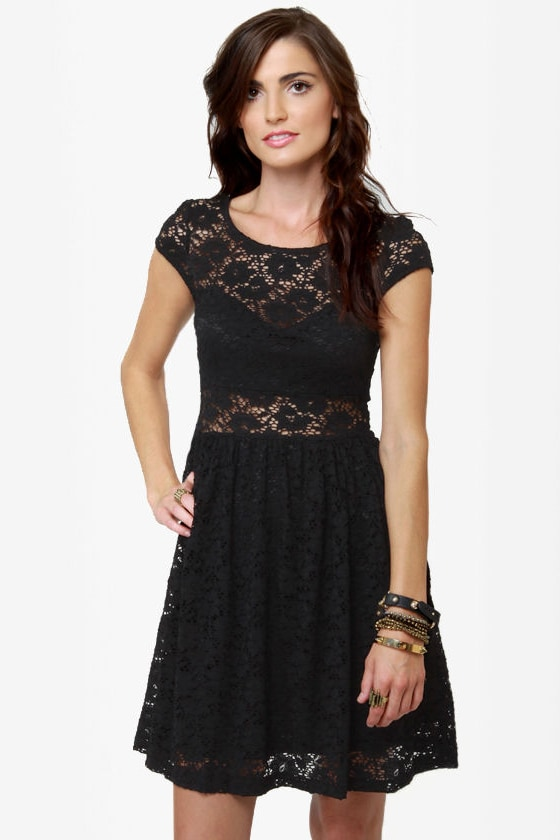 Sexy Black Dress - Lace Dress - Short Sleeve Dress - $44.00