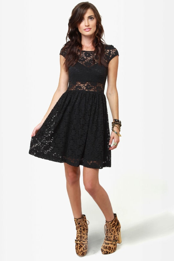 Sheer and There Black Lace Dress