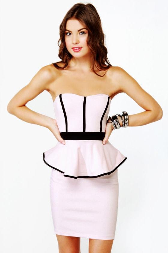 Pretty Light Pink Dress - Strapless Dress - Peplum Dress - $39.00