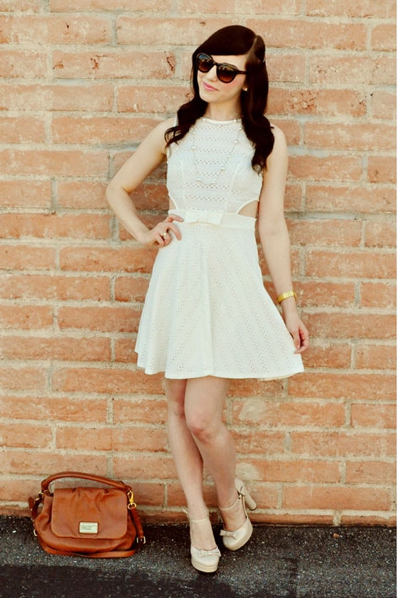 Hole in One Ivory Eyelet Lace Dress