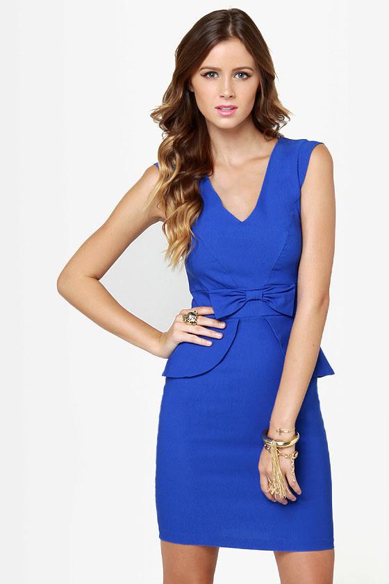 Pretty Royal Blue Dress - Peplum Dress - Sheath Dress - $39.00