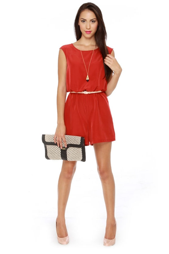Caped May Backless Red Romper