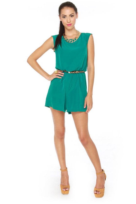 Caped May Backless Teal Romper at Lulus.com!
