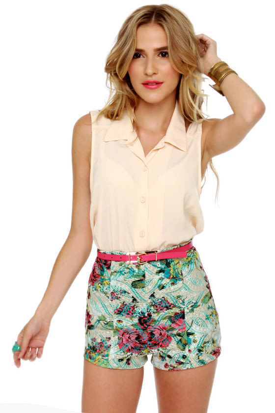 Cute High-Waisted Shorts - Floral Print Shorts - $35.00