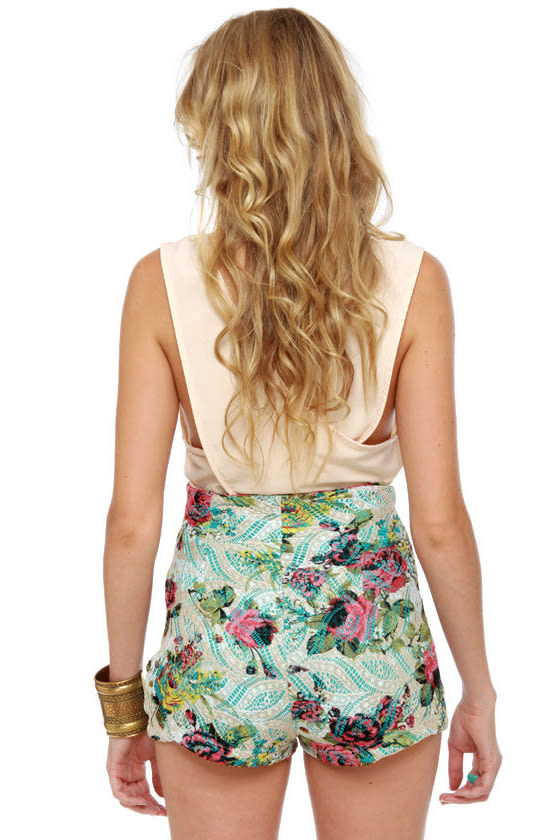 Go With the Flo-rist High-Waisted Floral Print Shorts
