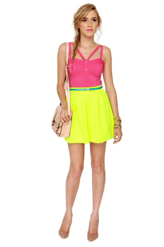 Win Win Situation Fuchsia Pink Bustier Top