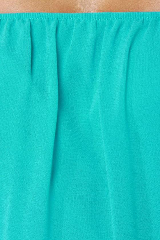 Landslide Off-the-Shoulder Turquoise Top