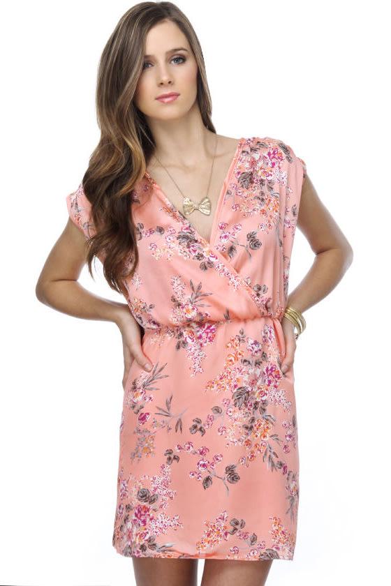 Konnichiwa Coral Floral Dress