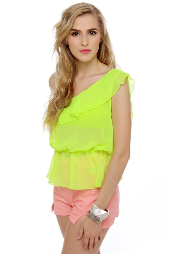 Citric Acid Sheer Neon Lime Top